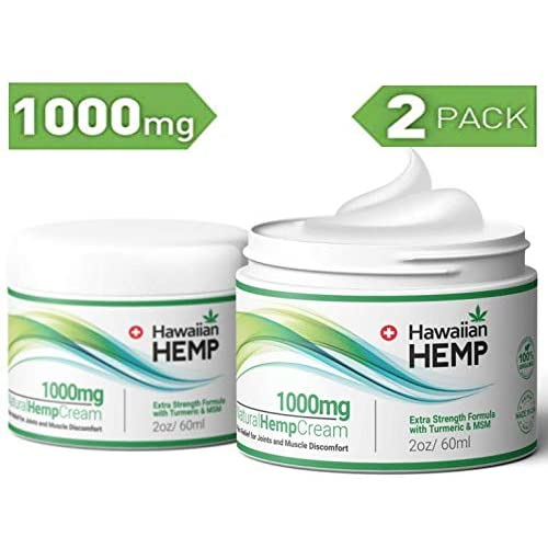 (2-Pack) Hemp Cream Pain Relief Lotion 1000mg - Helps Prevent Joint, Muscle  & Pain - with Hemp Extract, Turmeric & MSM - Advanced Hemp Oil Extract