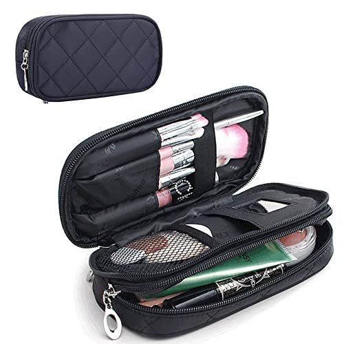 95867628a551 MONSTINA Makeup Bag for Women With Mirror,Pouch Bag,Makeup Brush Bags  Travel Kit Organizer Cosmetic Bag (Black)