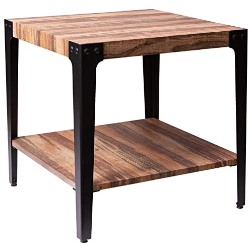 Ironck End Tables Living Room Side Table With Storage Shelf Wood Look Accent Home Furniture Thicker Mdf Board Frame Vintage Brown