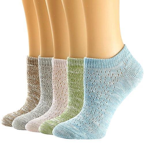 Leotruny Women/'s 6 Pairs Bamboo Mesh Design Low Cut Non Slip No Show Socks
