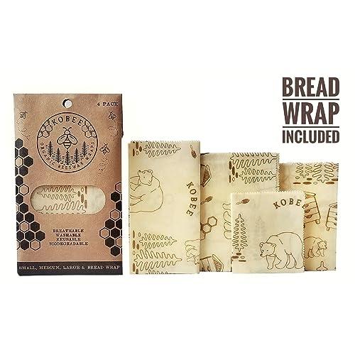Buy Organic Beeswax Food Wraps by KOBEE - Reusable